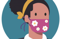 Graphic of woman wearing face mask