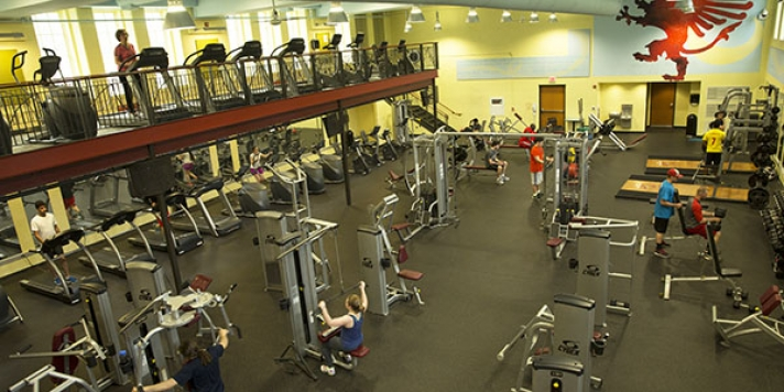 People working out in the gym with treadmills and weight machines