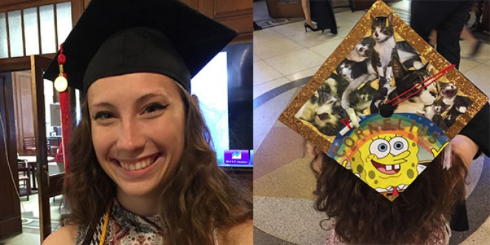 Front and back of mortarboard