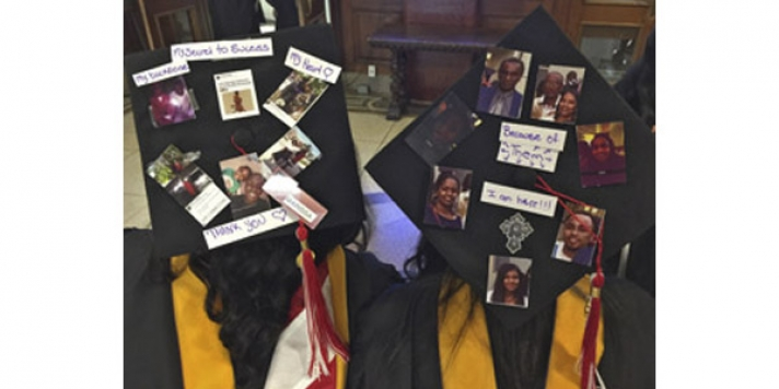 Mortarboards with photographs