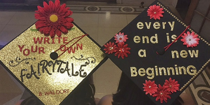Mortarboard with Write Your Own Fairytale and Every End is a New Beginning