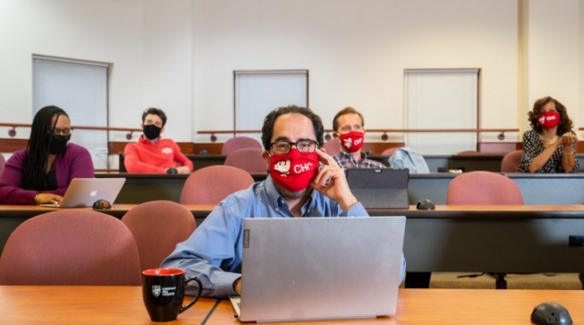 Students wearing face masks in classroom