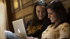 two girls on computer
