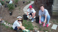 Students working in Earth Center garden