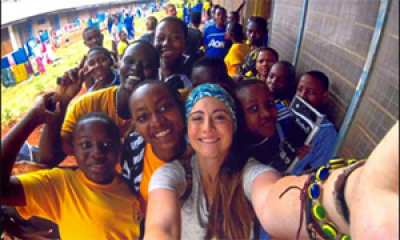 Student with young people in Africa