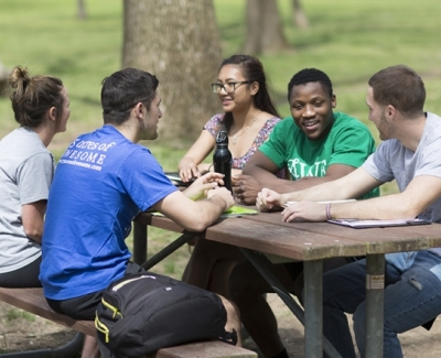 Students at picnic table