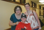 Deborah Breidinger Vicario '73 visits St. Joseph Hall in August with her daughter, Terra and grandson, Jake.
