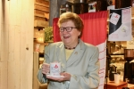 Sister Carol pictured at Poppy's Café in Chestnut Hill for the unveiling of the Sister Carol Jean Bean red velvet latte. (Photo by Margaret Terzieva)