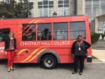 Trachanda and Gloria in front of CHC shuttle bus