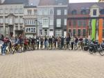 international students ride bikes in Belgium