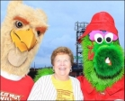 Sister Carol with Phillies and CHC Mascots