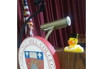 Rubber Ducky at podium