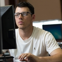 Male student on computer