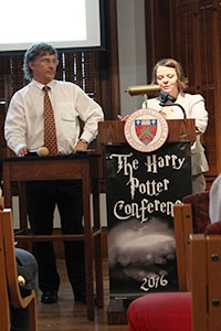 Dr. Patrick McCauley and Dr. Karen Wendling, coordinators and creators of the annual Harry Potter Academic Conference, introduce one of the keynote speakers at Friday's daylong event.