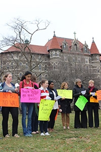 "Members of the College community took part in a global unity march in solidarity with our ""Dear Neighbors"" throughout the globe."