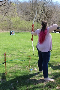 Taking advantage of the beautiful weather on Monday, members of the Archery Club held a festive practice, shooting plastics Easter eggs at the targets.