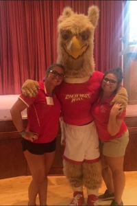 Orientation leaders, Peyton Reno and Olivia Trainor, as well as Big Griff, are all ready to welcome the new students at this weekend's orientation!