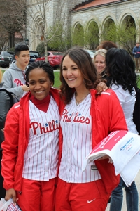 Getting students excited for the baseball season is easy when the Phillies Trolley and ball girls make a stop on campus, like they did last week.