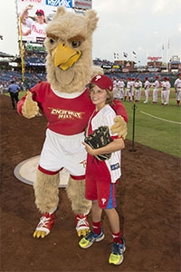 Member of Team Impact and the CHC Baseball Team, Owen Frenia threw out the first pitch at the 3rd Annual CHC Night at the Phillies