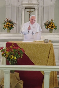 Flat Francis says mass in the chapel