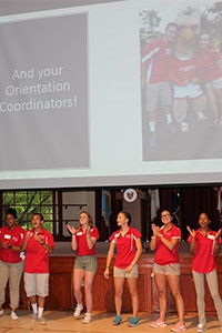 Orientation leaders welcome students at last week's Griffin Day.
