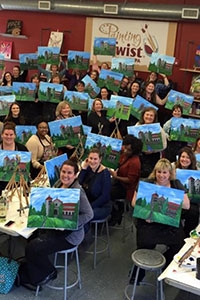 Alumni had the opportunity to paint Fournier Hall this past weekend at the Skippack Painting with a Twist event. Close to 50 Griffins were in attendance.