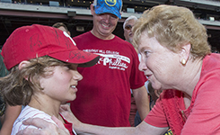 Sister Carol with Phillies fan