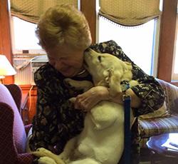 sister carol with dog