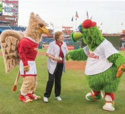 sister carol at Phillies game